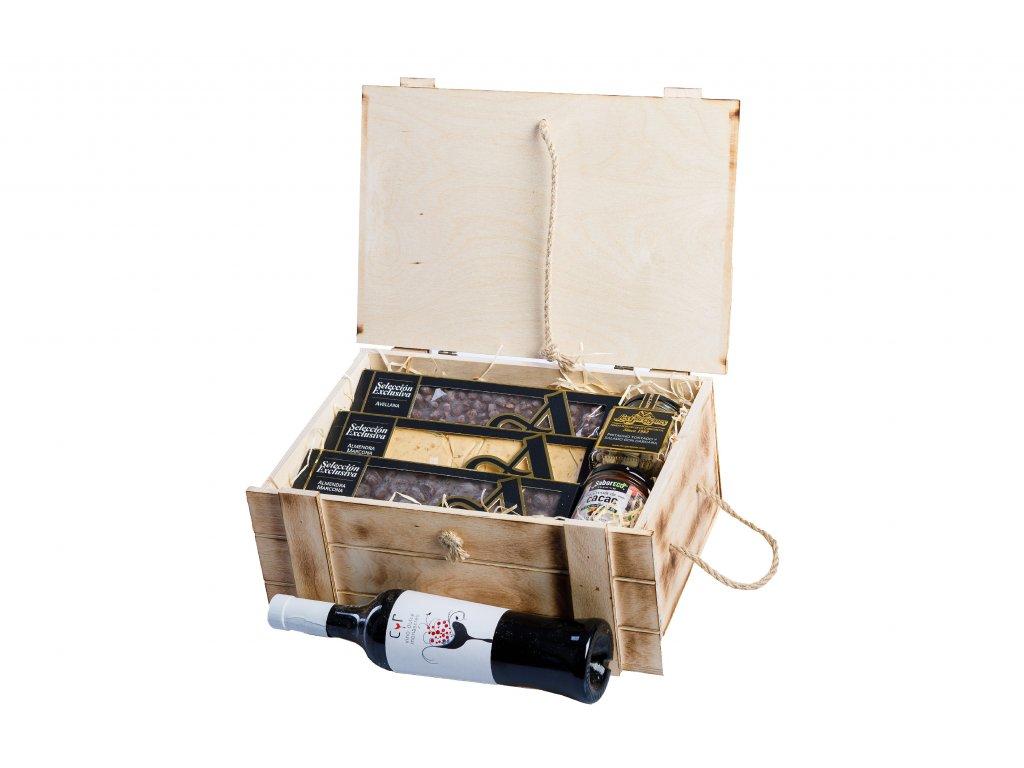 El Artesano - Exkluzivní dárkový box plný luxusní čokolády a skvělého vína.