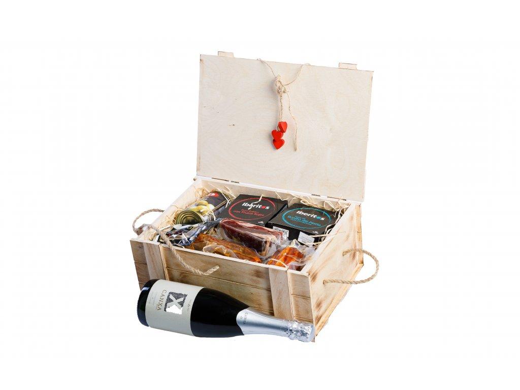 Cataluna Exkluzivní dřevěný box plný vína, masa a paštik