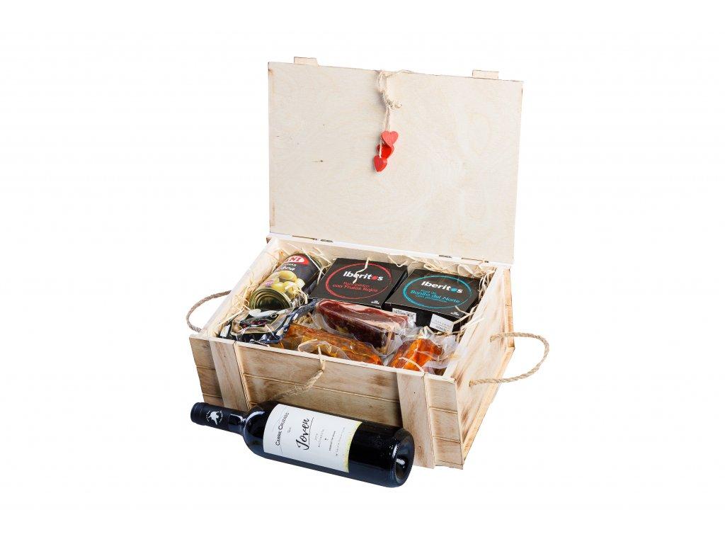 La Mancha Exkluzivní dřevěný box plný vína, masa a paštik