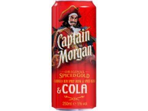 Rum Captain Morgan spiced & Cola 0,25l plech