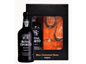 Royal Oporto Ruby 0,75 l dárkový box se skleničkami