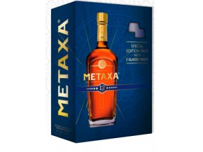 Metaxa 12* v krabičce se 2 skleničkami 0,7 l