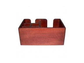 Dřevěný zásobník na brčka a ubrousky hnědočervený