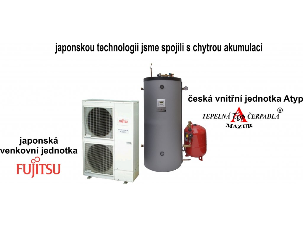Tepelné čerpadlo vzduch-voda Fujitsu Komfort 11,2 kW + AKU 150 litrů