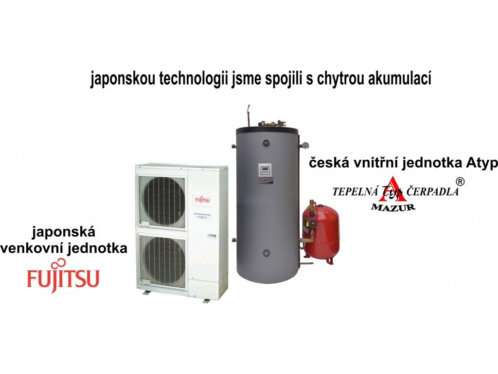 Tepelné čerpadlo vzduch-voda Fujitsu High Power 11 kW + AKU 150 litrů