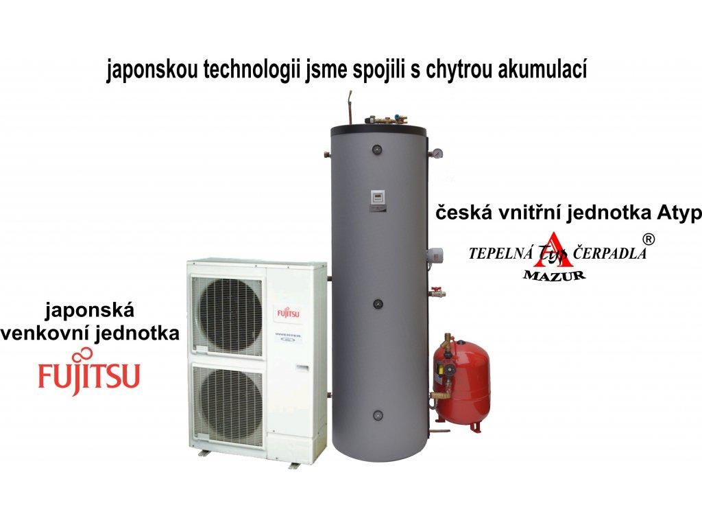 Tepelné čerpadlo vzduch-voda Fujitsu High Power 14 kW kompletní kotelna
