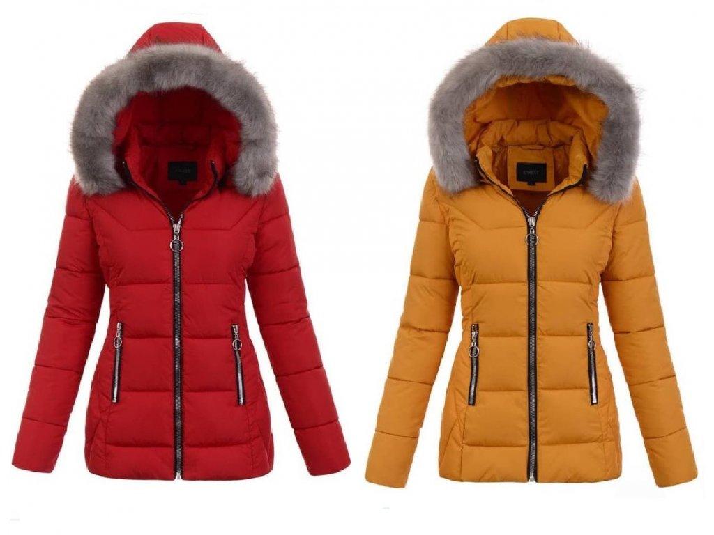 zimní bunda žlutá a červená