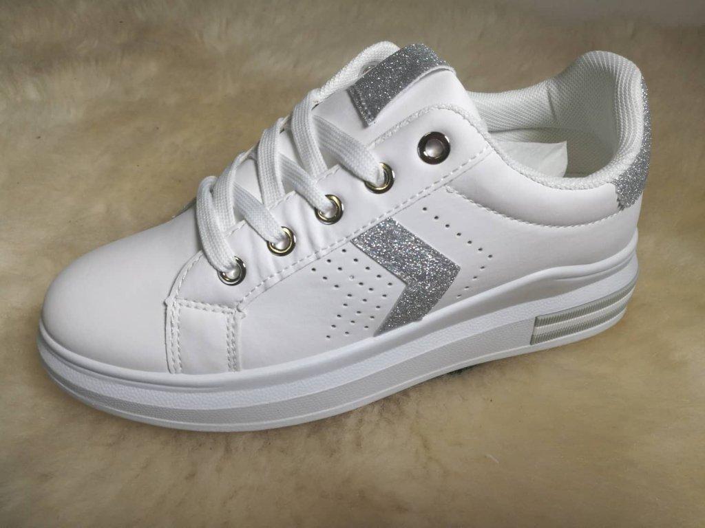 botasky bílé + stříbrné do V