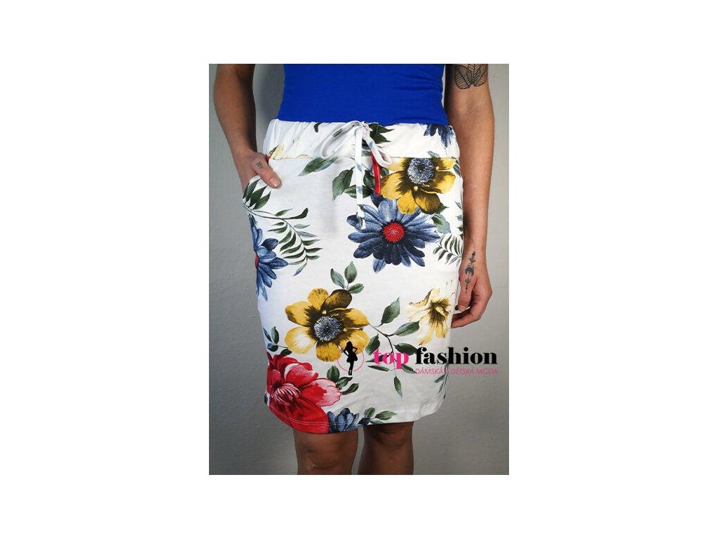 sukně bílá s květy