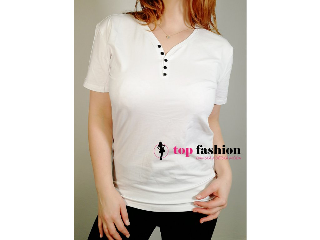 tričko na knoflíčky bílé