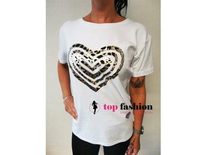 tričko srdce bile