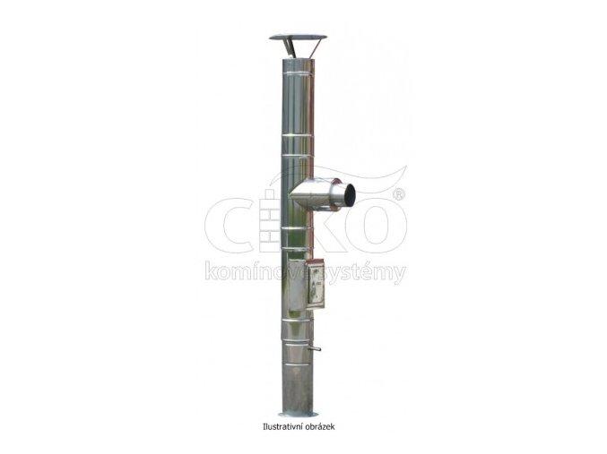 nerezova kominova sestava complex d na konzoli s vybiranim spodem vyska 6m prumer 150mm