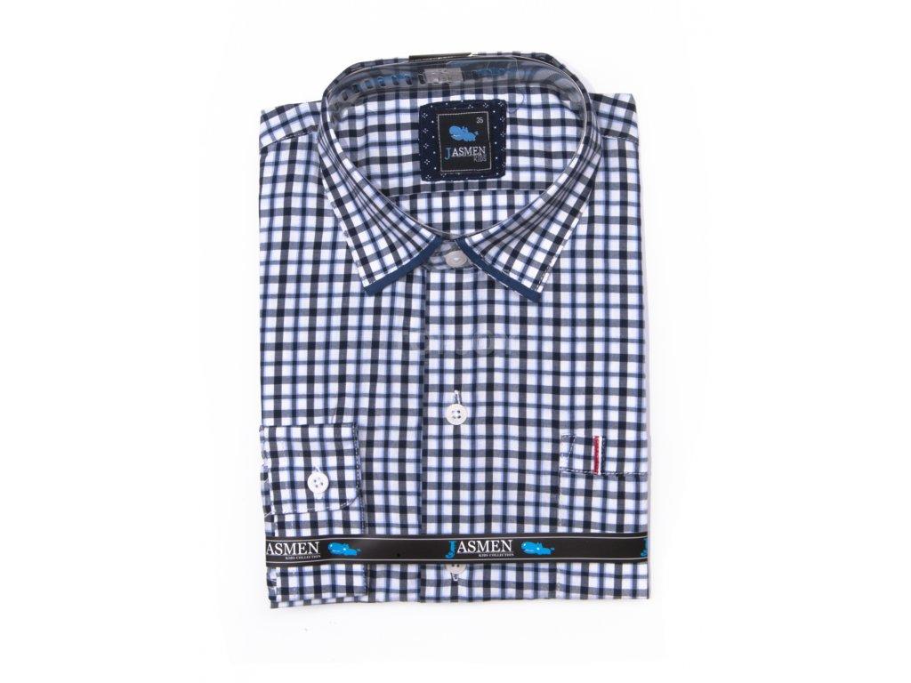 Kostkovaná chlapecká košile s dlouhým rukávem ED15-1