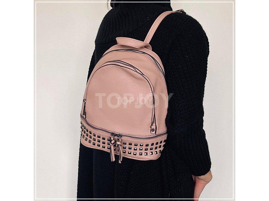 Módní batoh se cvočky 2741 růžový