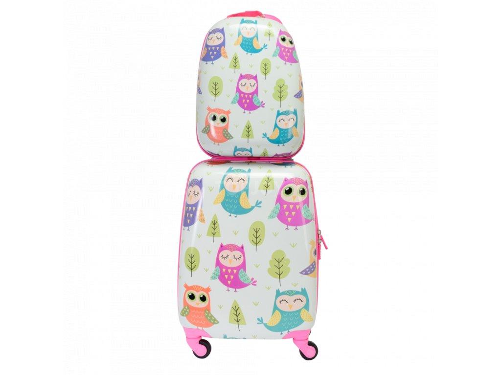 Dětský ABS set kufru na kolečkách a batohu 140341 sovičky 2