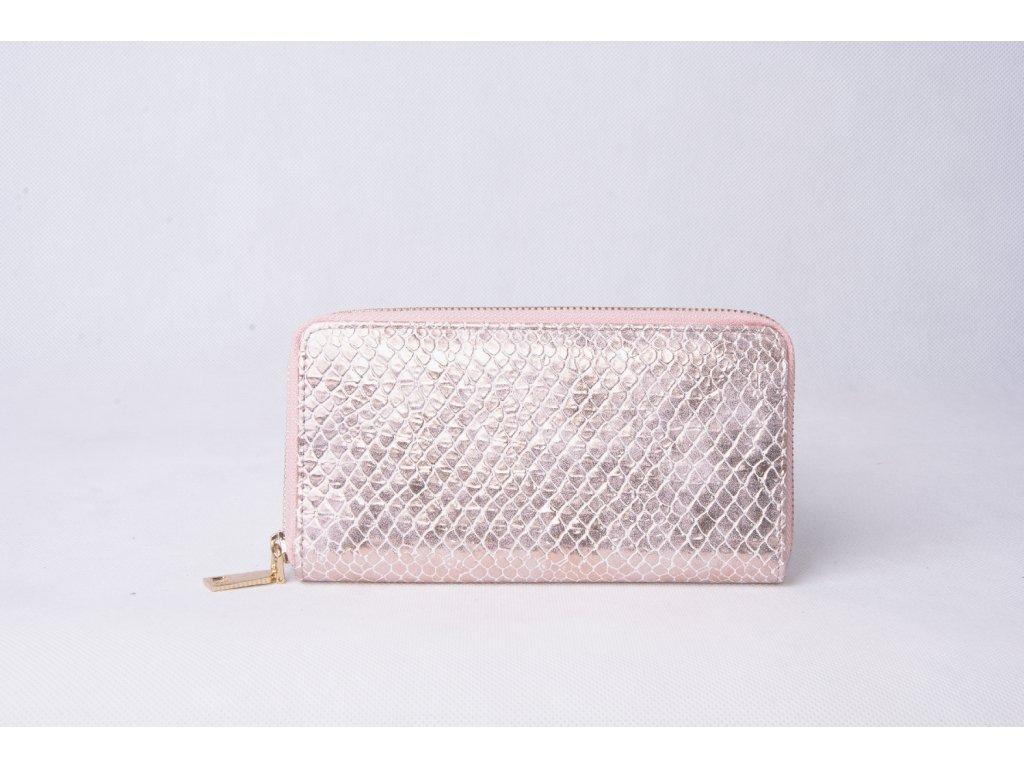 Dámská peněženka s hadím vzorem XD9818 rose gold