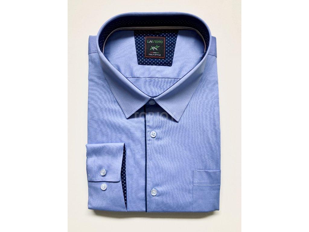 Modrá společenská košile nadměrná velikost do 7XL