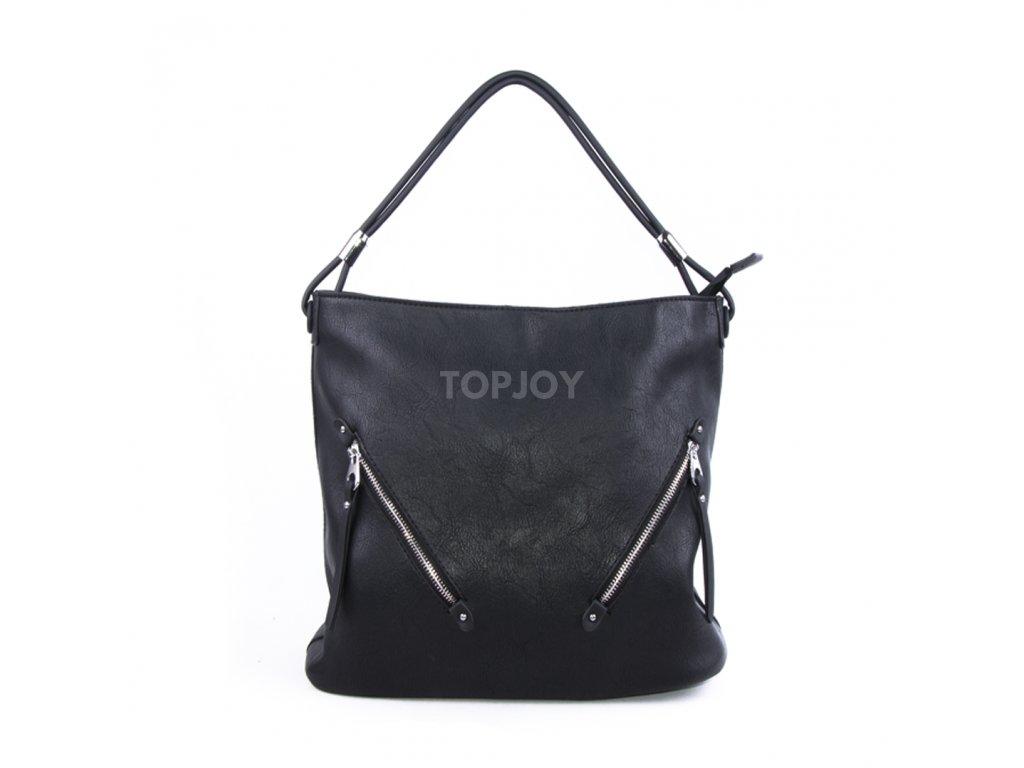 Velká dámská kabelka se stříbrnými detaily 4175 černá
