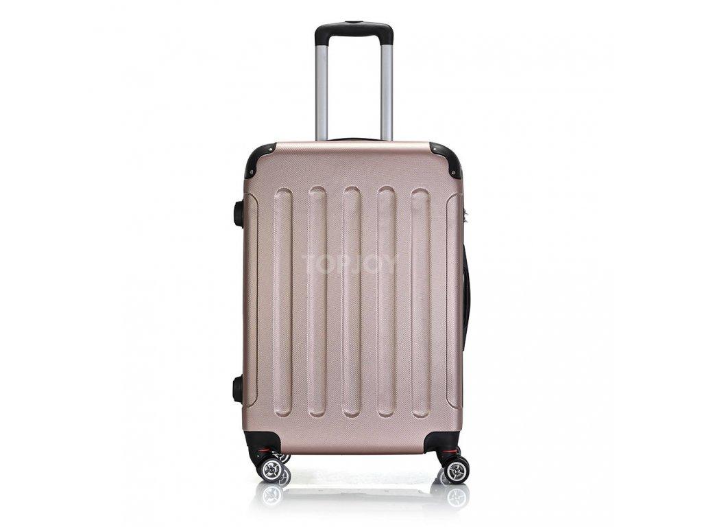 Skořepinový ABS kufr 195-3 rose gold L