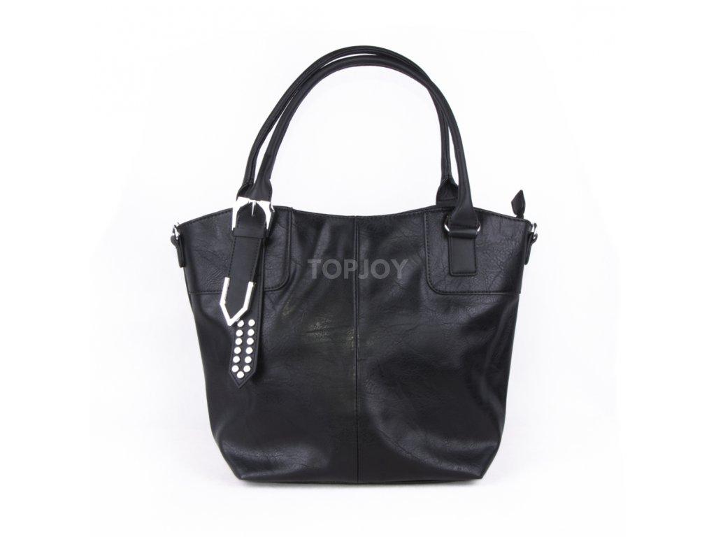 černá velká kabelka se stříbrnými detaily 4484 (1)