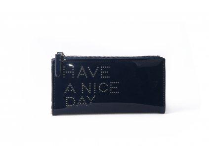 Dámská peněženka s nápisem FLO9345 tmavě modrá