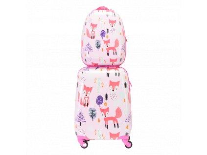Dětský ABS set kufru na kolečkách a batohu 140341 lišky