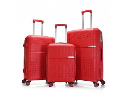 Červený kufr z flexibilního materiálu 130140 S