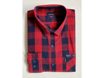 Pánská kostkovaná košile červená s dlouhým rukávem