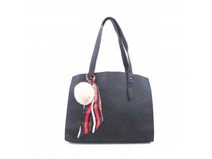 Basic velká kabelka s přívěškem bv18234 černá