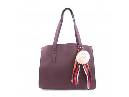 Basic velká kabelka s přívěškem bv18234 vínová