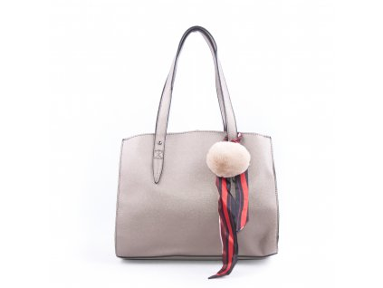 Basic velká kabelka s přívěškem bv18234 béžová