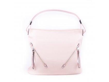 Velká dámská kabelka se stříbrnými detaily 4175 růžová