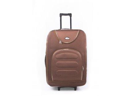 Cestovní kufr s kostičkami 702 hnědý L