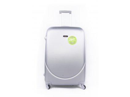 cestovní kufr plastový skořepinový stříbrný (1)