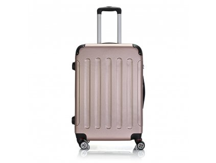 Skořepinový ABS kufr 195-3 rose gold M
