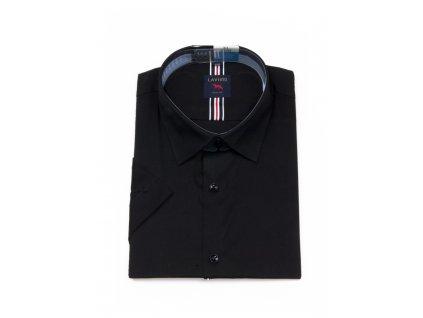 Černá pánská košile s krátkým rukávem TSMK-14B slim fit
