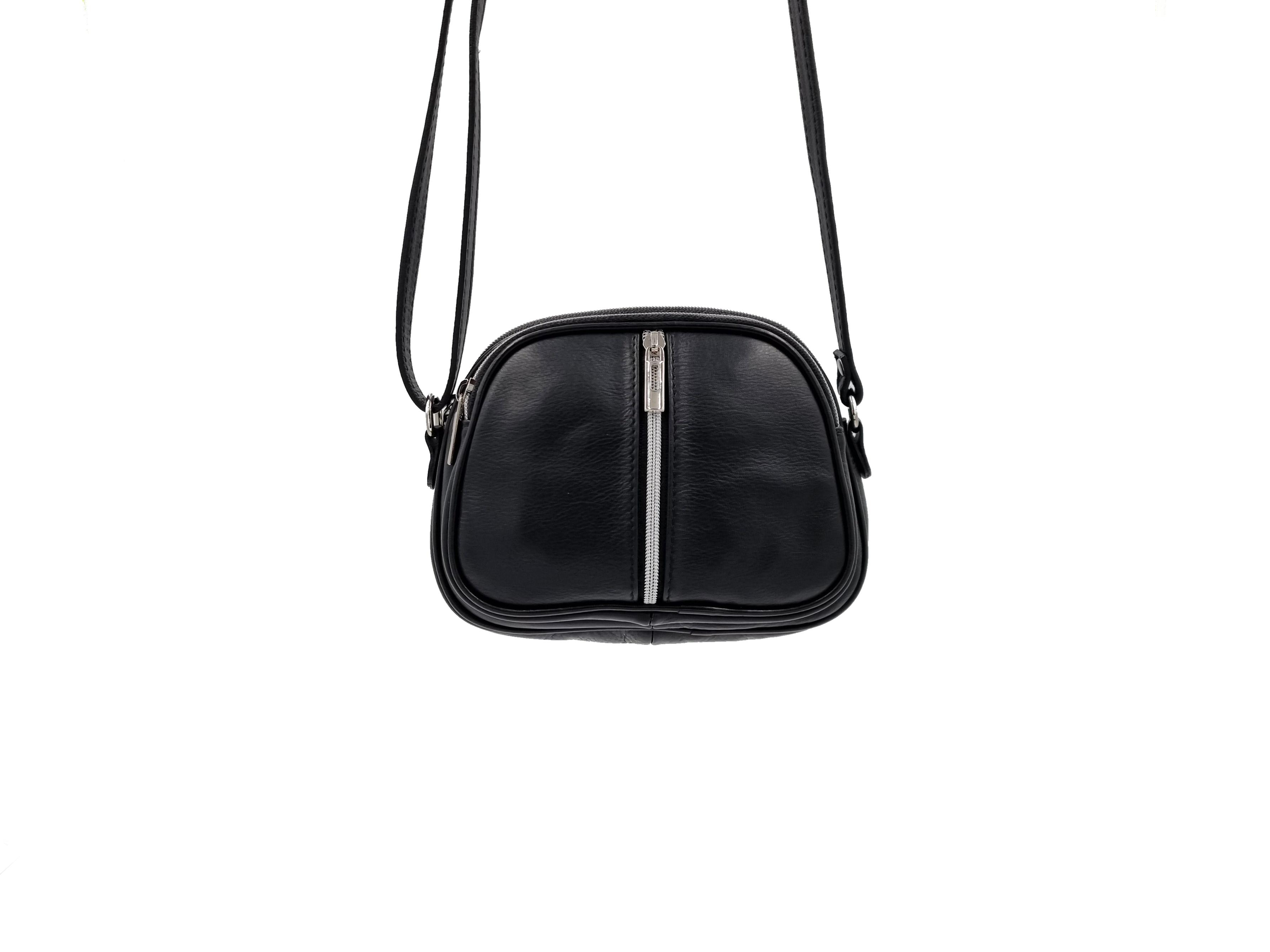 Kožená kabelka 3 Zip černá