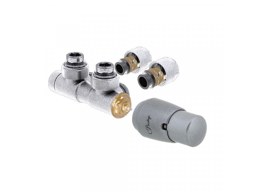 Termostatický ventil Twin, středové připojení, základní sada, matný chrom, levé