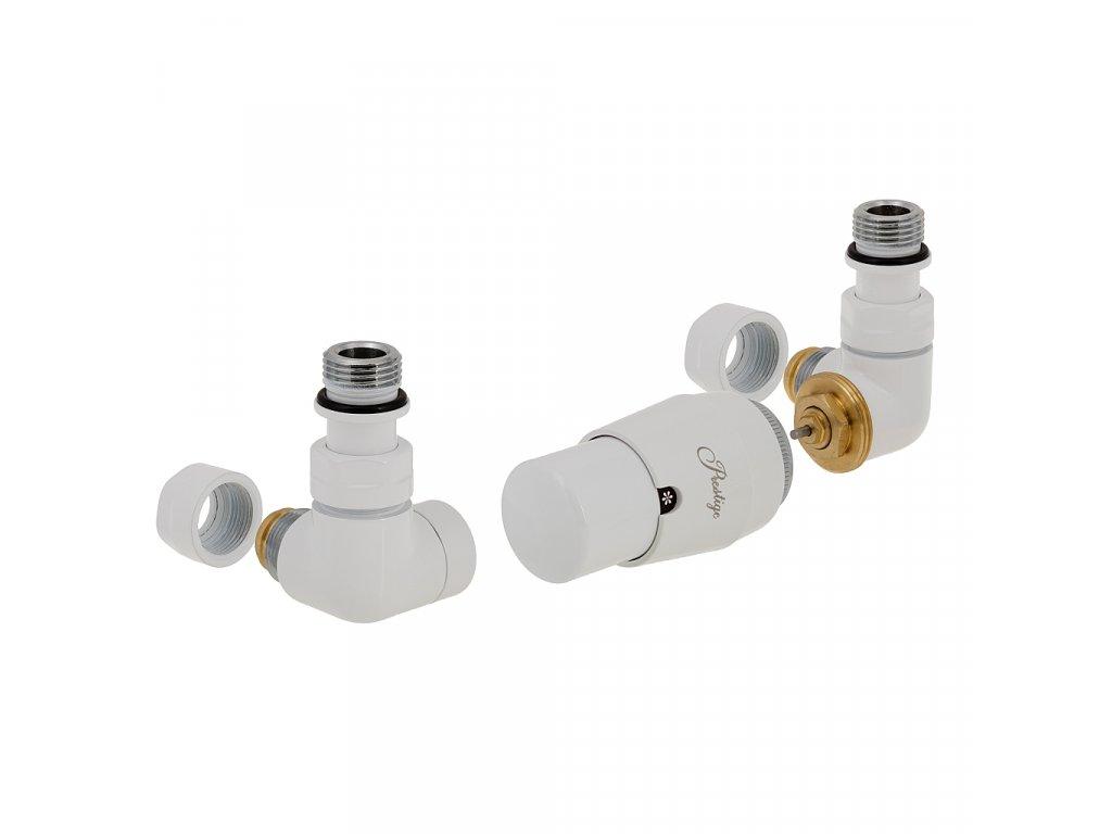 Termostatický ventil Vision, klasické připojení, základní sada, bílá, levá