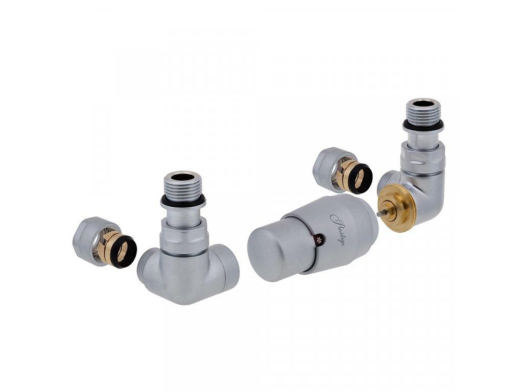 Termostatický ventil Vision, klasické připojení, zakladní sada, matný chrom, levé