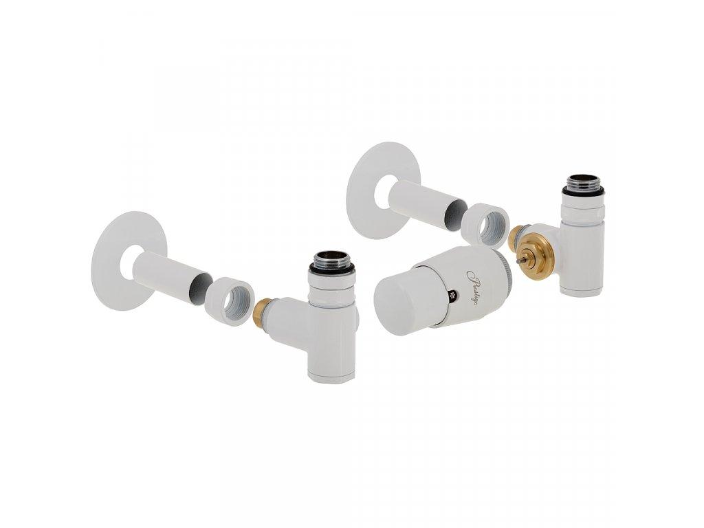Termostatický ventily Integra s možností instalace topné tyče, kompletní sada, bílá, pravá