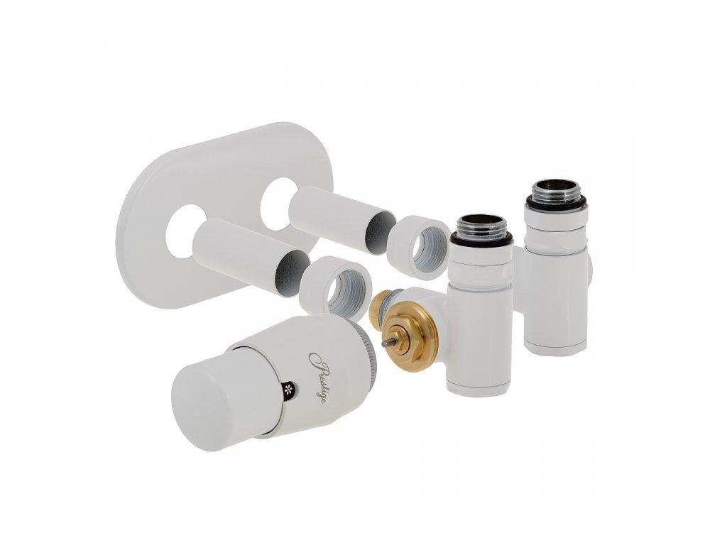 Termostatický ventily integra, středové připojení a možností instalace topné tyče, bílá, levá