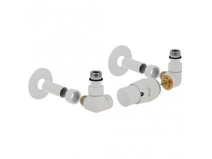 Termostatický ventil Vision, klasické připojení, kompletní sada, bílá, levá