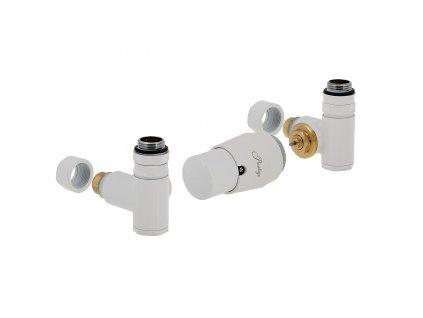 Termostatický ventily Integra s možností instalace topné tyče, základní sada, bílá, pravá