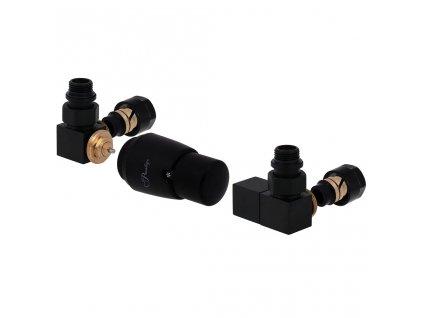 Základní termostatická sada ventilu Square, klasické připojení, levá provedení, černá