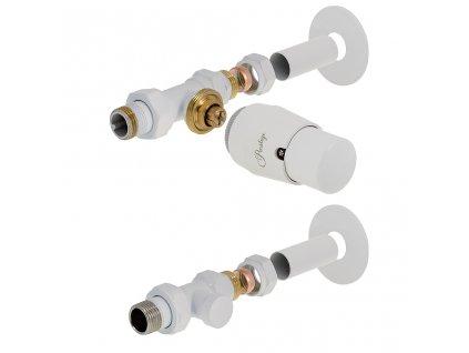 Sada termostatické ventilu Elenga, stranové přímé připojení, bílá barva