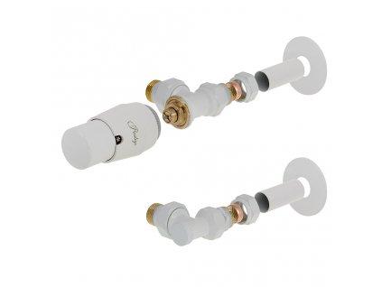 Sada termostatické ventilu Elenga, stranové rohové připojení, bílá barva