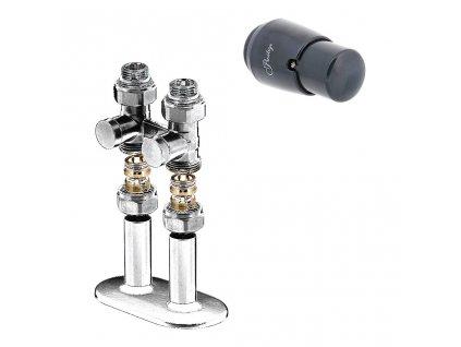 Připojovací sada ventilu Premium, spodní přímé provedeníe, bílá barva
