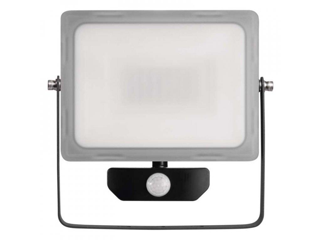 LED reflektor Emos IDEO 50W s pohybovým čidlem, krytí IP44, vhodný i do exteriéru, svítivost 4 000 lm, 4 000 K, barva světla neutrální bílá, materiál sklo/hliník, mechanická odolnost IK08, náhrada za žárovku 430 W. TopLux Praha skladem