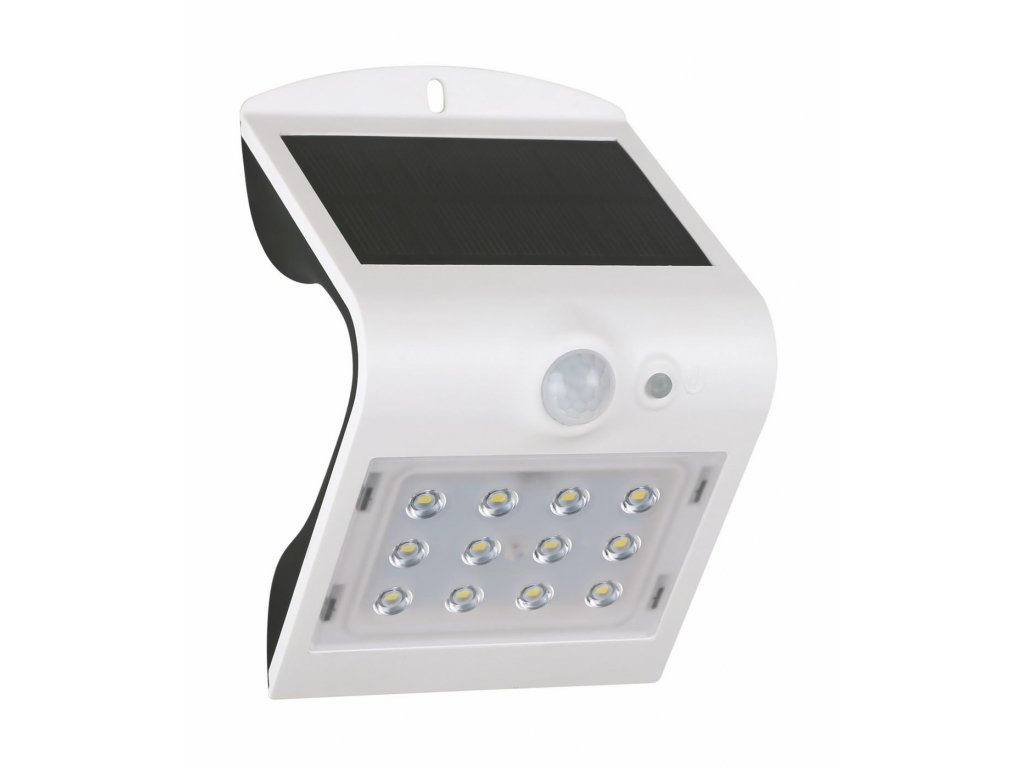 Venkovní fasádní solární LED svítidlo s čidlem pohybu a senzorem setmění 1,5W bílé GXSO004. LED bezdrátový designový reflektor s podsvícením, výměnná baterie. Vhodné na balkony, terasy a zahrady. IP65 venkovní použití vodotěsné.  TopLux Praha.